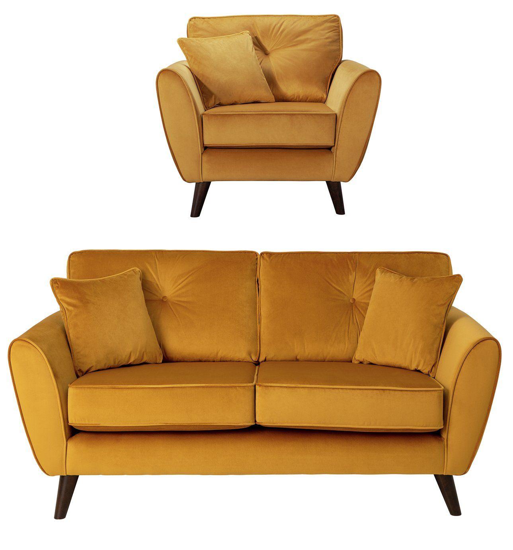Argos Home Isla Velvet Chair 2 Seater Sofa Gold In 2020 Gold