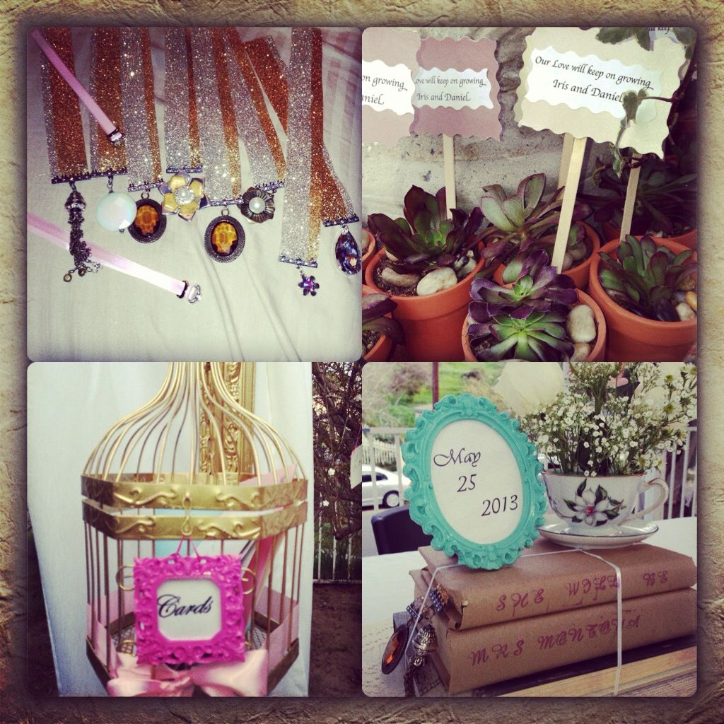 A bunch of DIY crafts for bridal shower. Vintage style. Live party favors