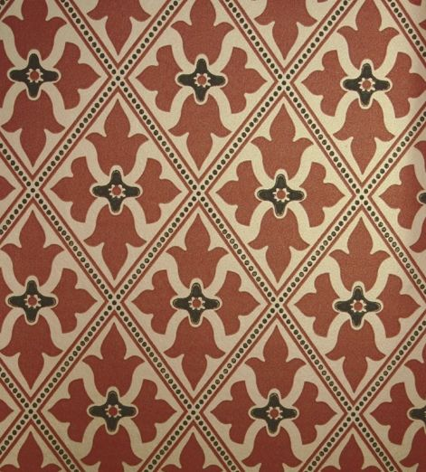 Bayham abbey wallpaper gold and terracotta red wallpaper with trellis design and central motif