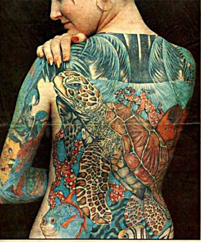 Full Back Sea Turtle Tattoo!