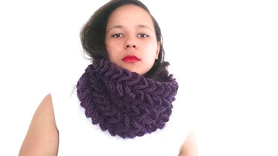 Crochet cowl scarf in deep purple Chunky cowl  by reneeoriginals1, $50.00 #Cowl #Fashion #Cowlscarf #Winterscarf #fashion #fashionista #purple #Purplescarf #handmade #unique #Etsy #crochet #winteraccessories #fallfashion #Autumn #Colors #ooak #statement