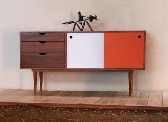 This White Orange Fifties Sideboard Is Inspired From The Prouvé And Perriand Design