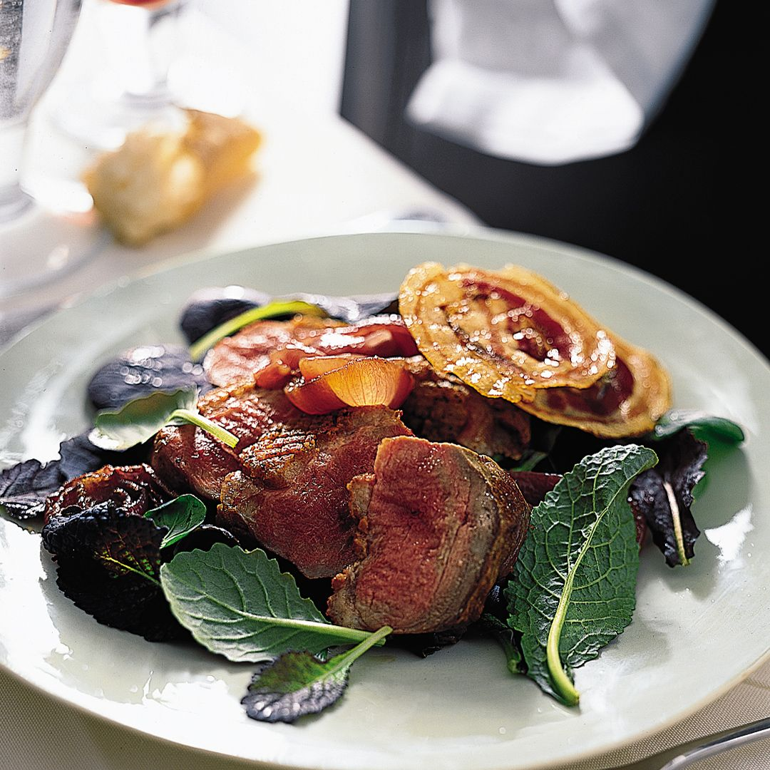 Pan-Roasted Duck Breasts with Onions and Crisp Pancetta | Food & Wine