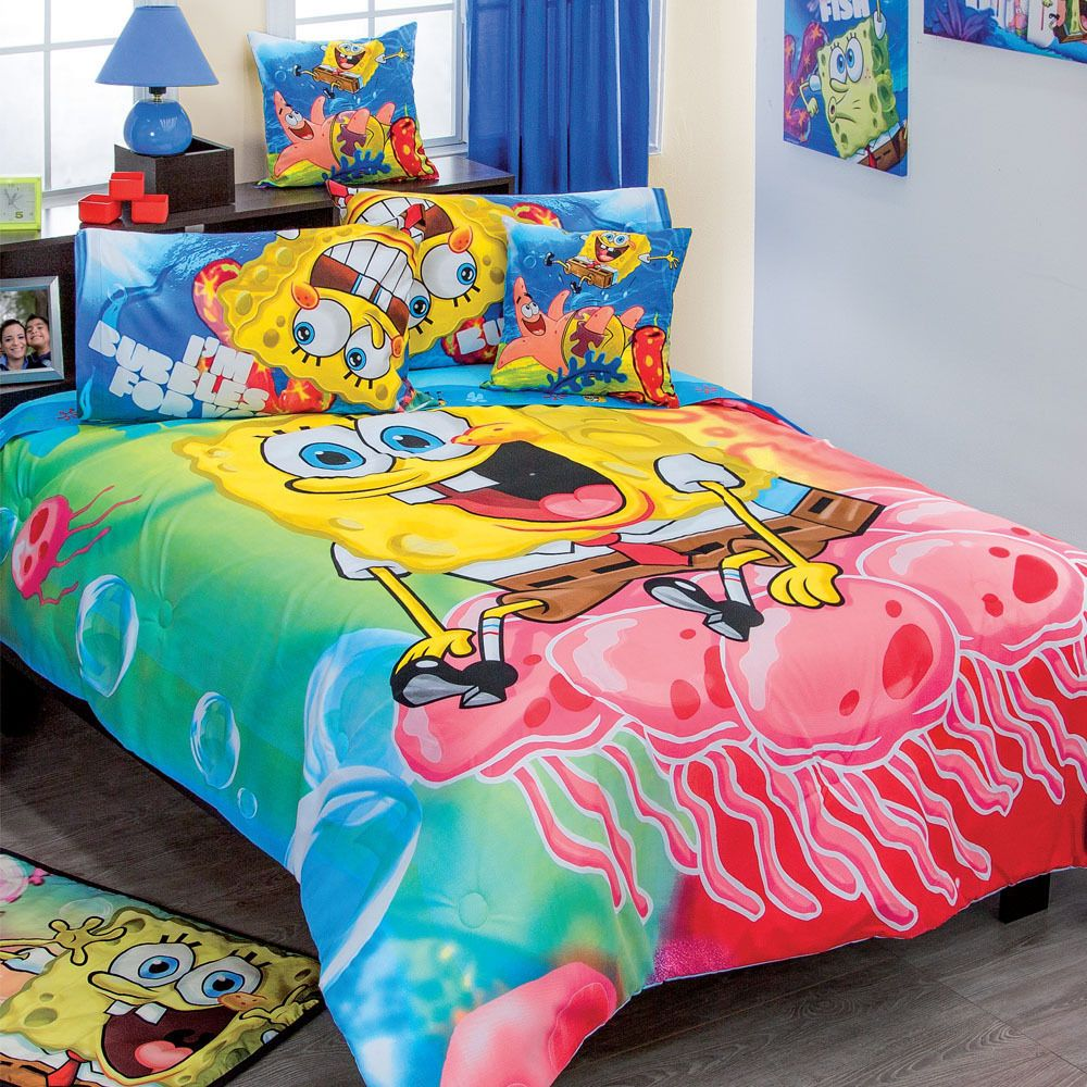 Spongebob squarepants time lapse bedroom art by david yarnell - Nickelodeon Spongebob Fish Swirl Microfiber Bedding Sheet