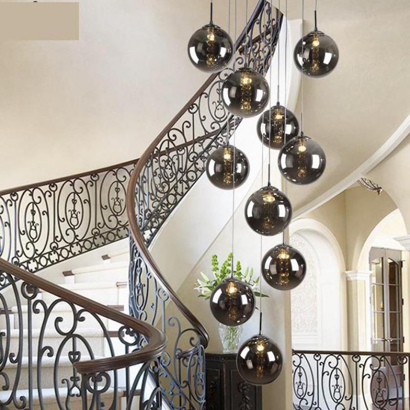 1.5 2M Staircase smoke black spiral pendant lamps Modern
