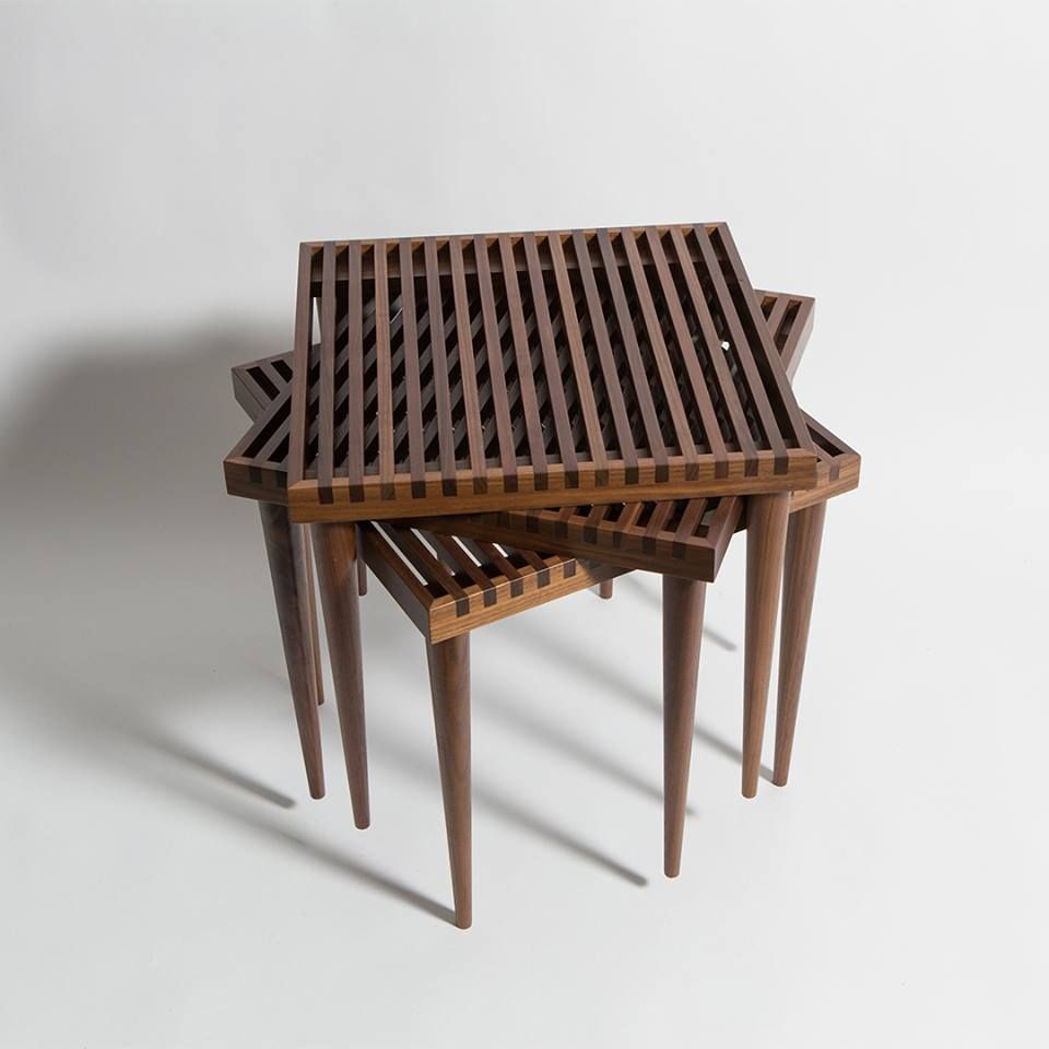 Impressive Joinery Details And Tapered Legs Characterize The Slatted Stacking Tables By Smilow Design Furniture Classic Rocking Chair Furniture Design Modern