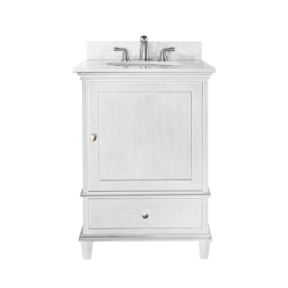 Avanity Windsor 25 In W X 22 In D X 35 In H Vanity In White With Marble Vanity Top In Carrera White And White Basin Windsor Vs24 Wt C Marble Vanity Tops Single Sink