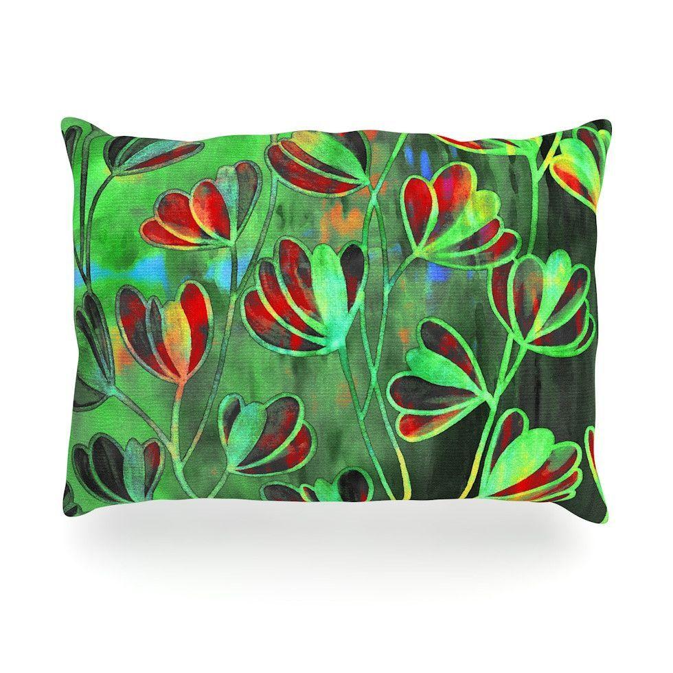 Lime Crimson Kess InHouse EBI Emporium Efflorescence Red Green Throw Pillow 18 x 18