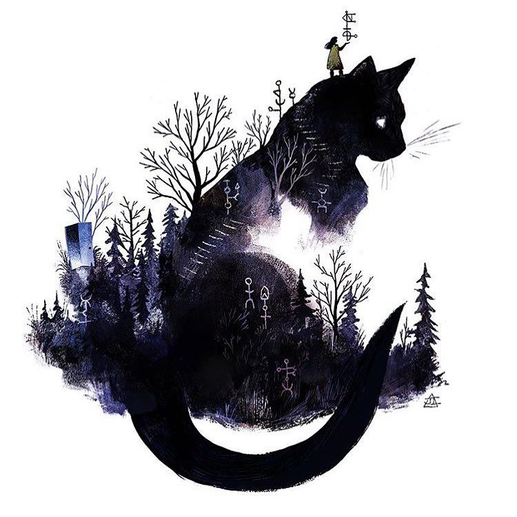 Children Illustrations On Instagram Illustration By Julia Iredale Illustrator Illustrations Black Cat Art Black Cat Tattoos Cat Art
