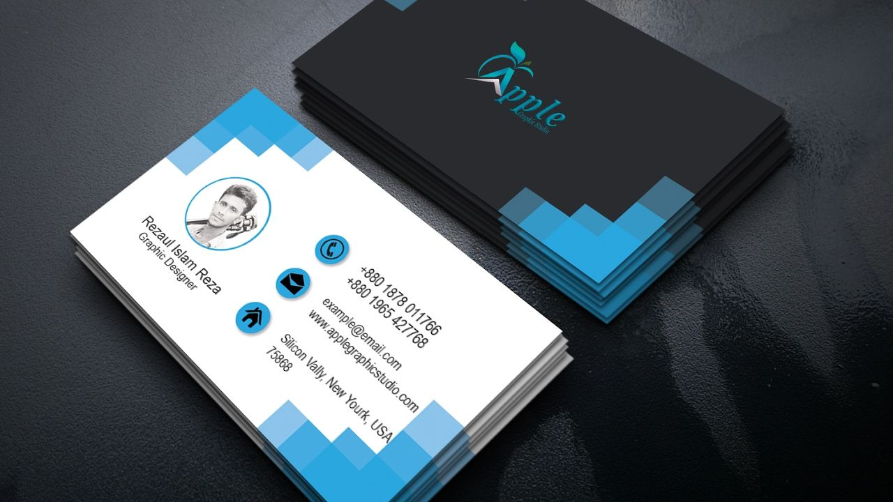 Clean Modern Business Card Design — Photoshop Tutorial | for sale ...