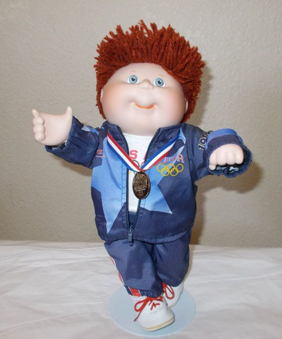 Cabbage Patch Kids Boy Doll Olympics 1996 Olympikids Red Hair Windbreaker Jacket Gold Medal Collectible Cabbage Patch Kids Cabbage Patch Kids Boy Patch Kids