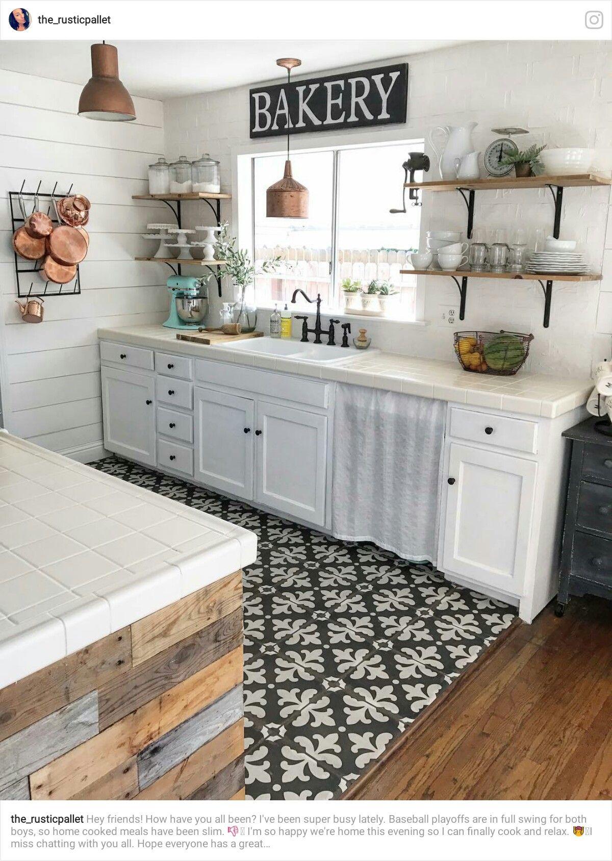 Pin By Heather On Stylish Kitchens The Farmhouse Country Look Kitchen Flooring White Kitchen Design White Kitchen Tiles