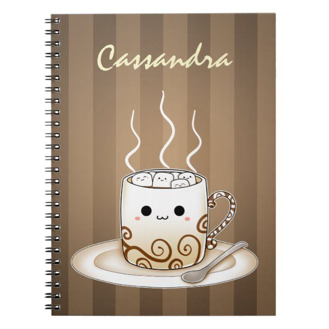 Cute kawaii warm cocoa drink notebook - I love to journal. Make yours personal.