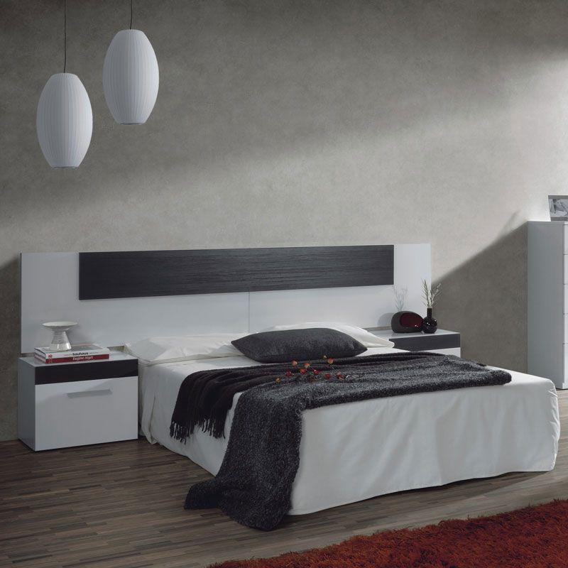 Cabezal de Matrimonio + 2 mesitas modelo LALIN en color blanco ...