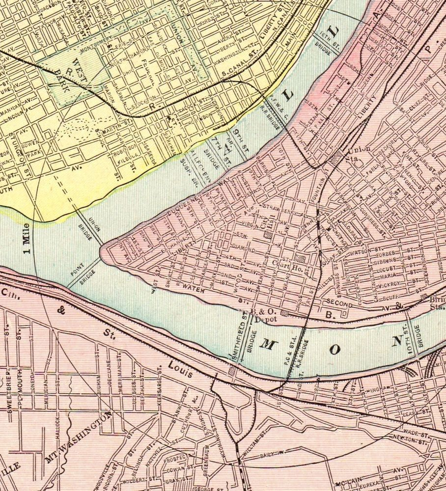 Pittsburgh On Map Of Usa.Details About 1900 Antique Pittsburgh Map Vintage Map Of Pittsburgh