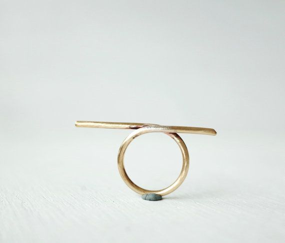 Parallel Gold Bars Brass statement ring/simple by LibiClozet