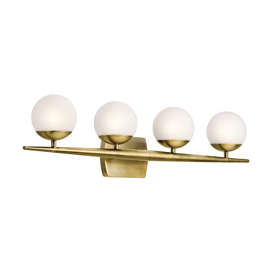 Kichler lighting 4 light jasper natural brass bathroom vanity light