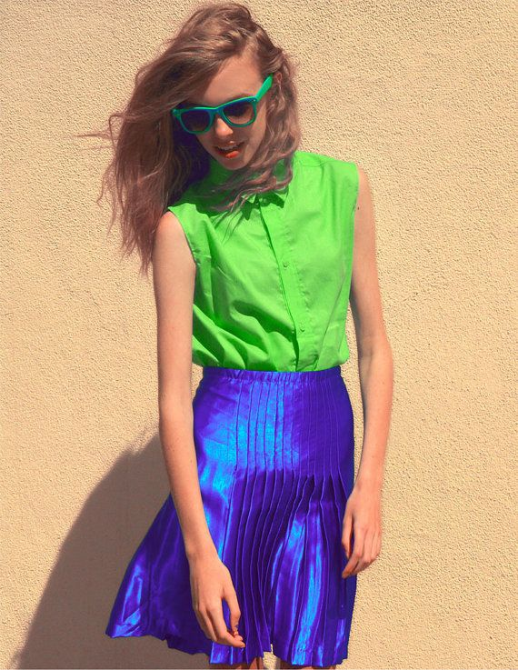 Electric Blue Pleated Skirt Blue Pleated Skirt Skirts