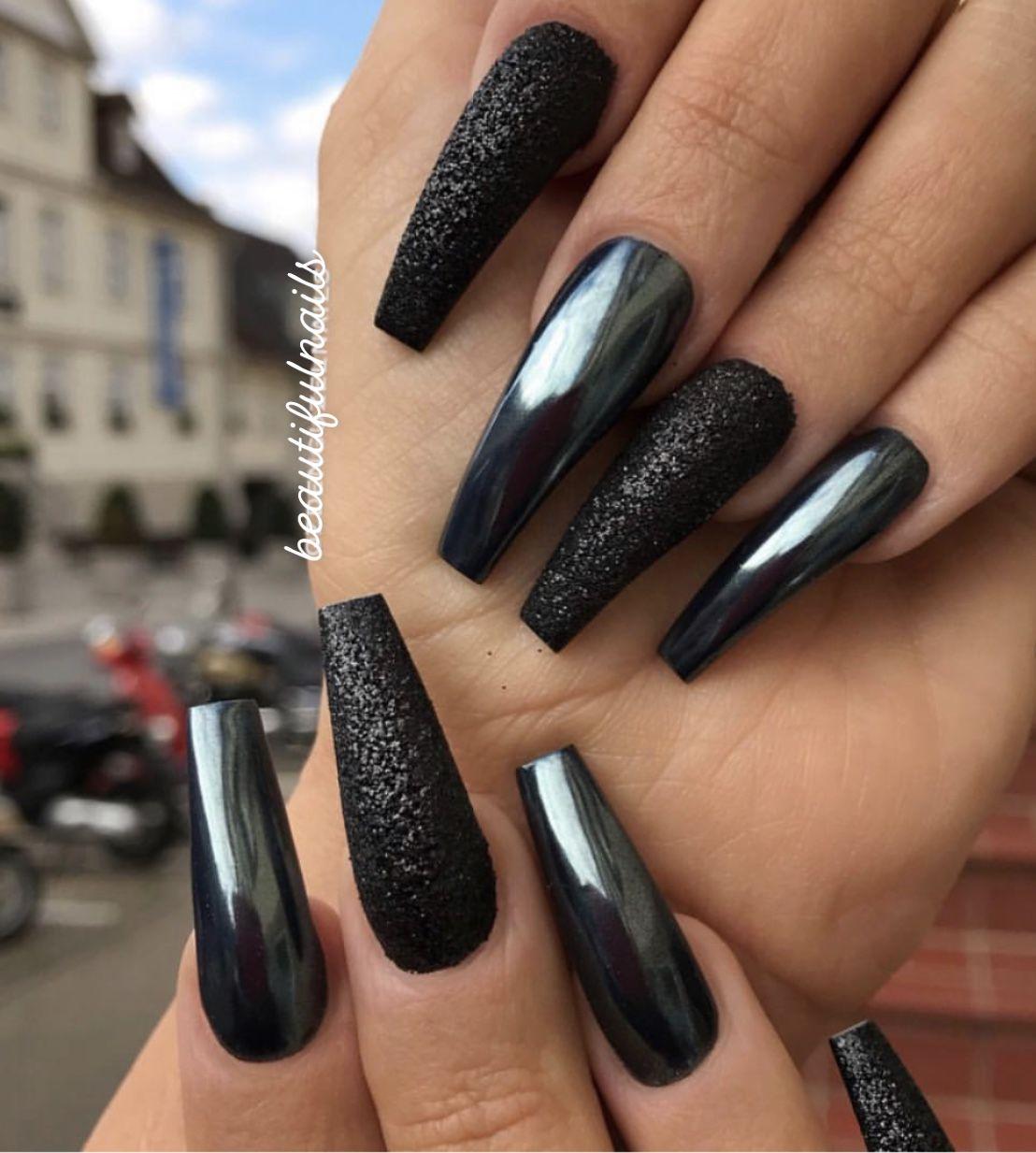 black chrome coffin nails