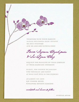 Orchid Wedding Invitations lovely colors Too much text maybe