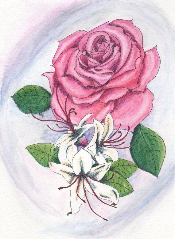 june birthday card  june flowers rose  honeysuckle