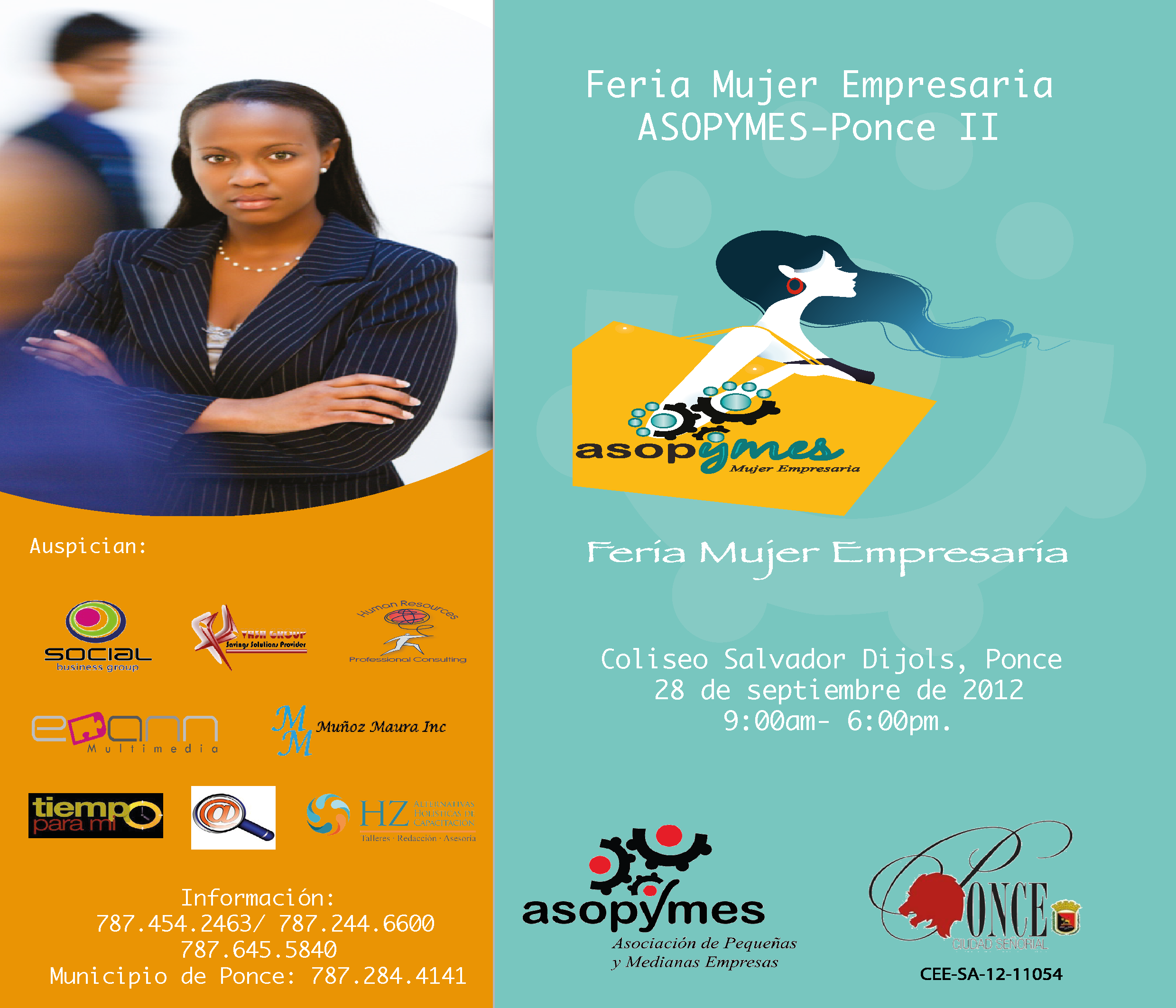 Feria Mujer Empresaria de Ponce el 28 de Septiembre....llama para participar!   Es gratis!