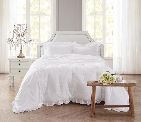 Shabby Chic 3 Piece Comforter Set White Double Queen Shabby Chic