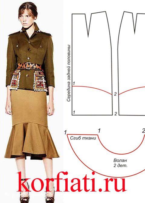 Как кроить воланы для юбки