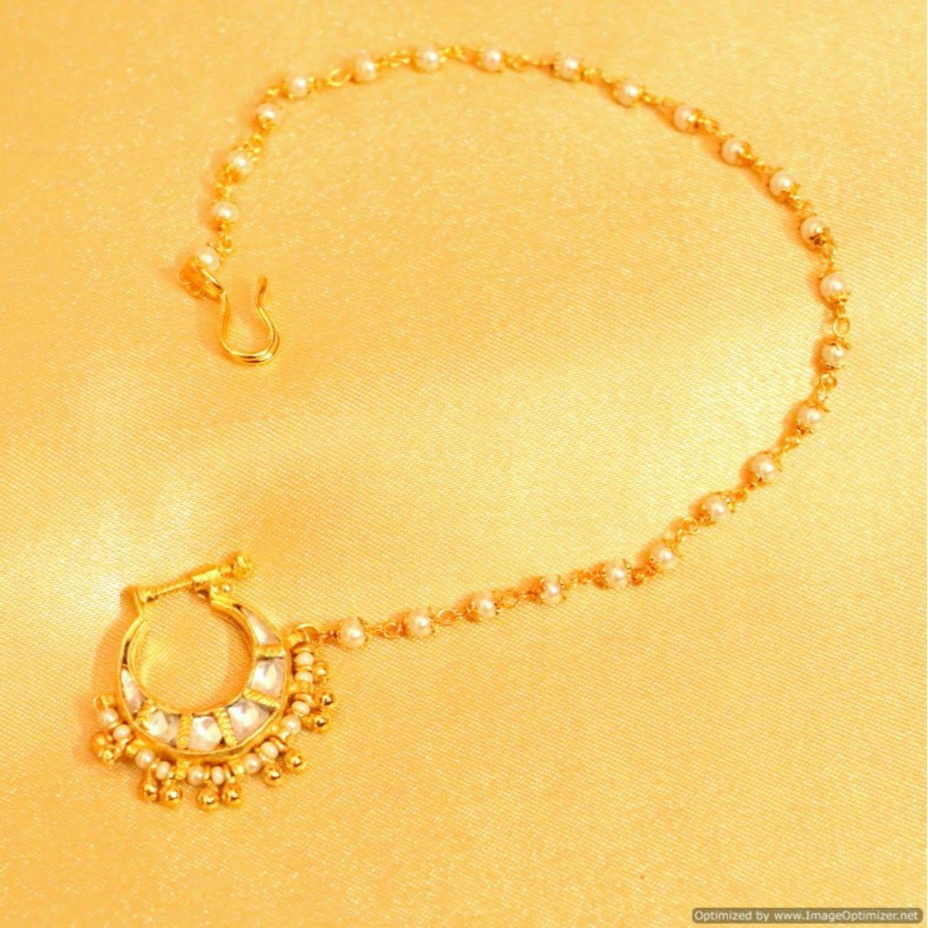 Uncut Kundan Pearl Bridal Small Nose Ring Nose Ring Kundan