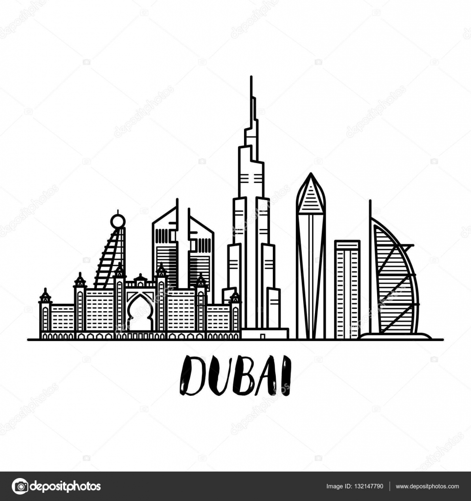 Dubai Landscape Line Art Illustration With Modern Lettering Square Stock Illustration Line Art Illustration Art Modern Lettering