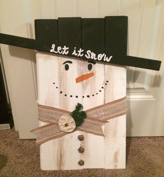 Wood snowman christmas decoration outdoor decoration pallet snowman - outdoor snowman christmas decorations