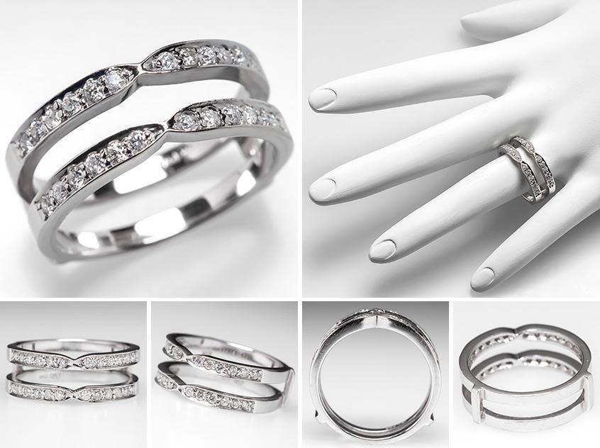 Diamond Wedding Band Ring Guard Split Design 14k White Gold Eragem
