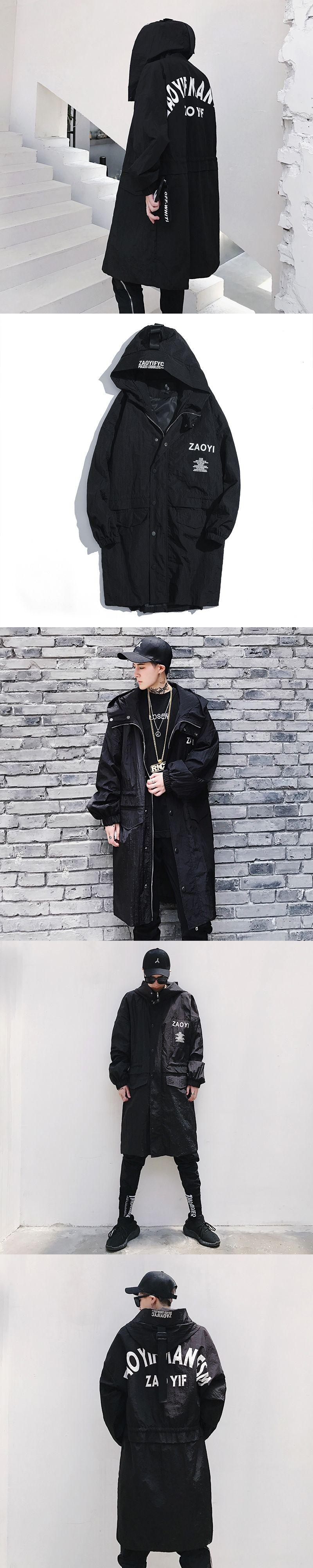 5e23d98f3 2017 New Casual Men s Loose Coat Punk Style Long Jacket Hooded ...