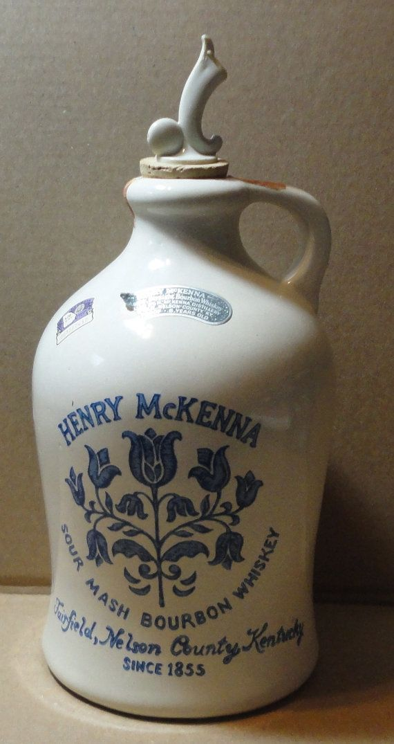 1975  Henry McKenna Sour Mash Bourbon Whiskey Jug Decanter with Spout. via Etsy