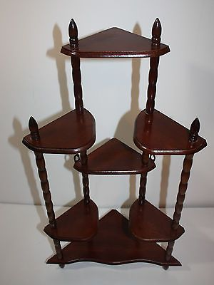 Captivating Vintage Cherry Wood 7 Shelf Corner Wall Shelf Or Standing Plant Stand 26h Amazing Design