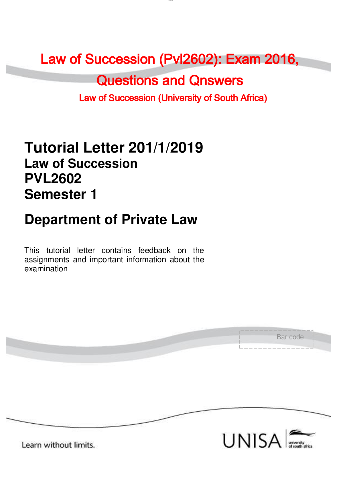 Law Of Succession Pvl2602 Exam 2019 Questions And Answers Law Of Succession Universi University Of South Africa University Of South This Or That Questions