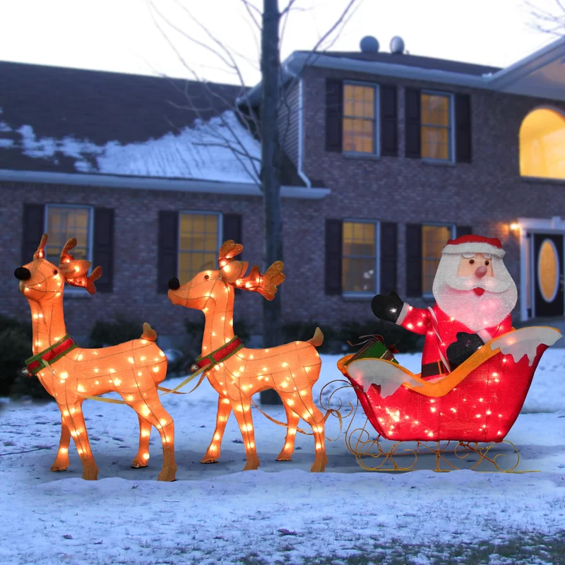 Hashtag Home Santa With 2 Deer Sleigh Christmas Decor Large Outdoor Christmas Decorations Outdoor Christmas Decorations Lights Decorating With Christmas Lights