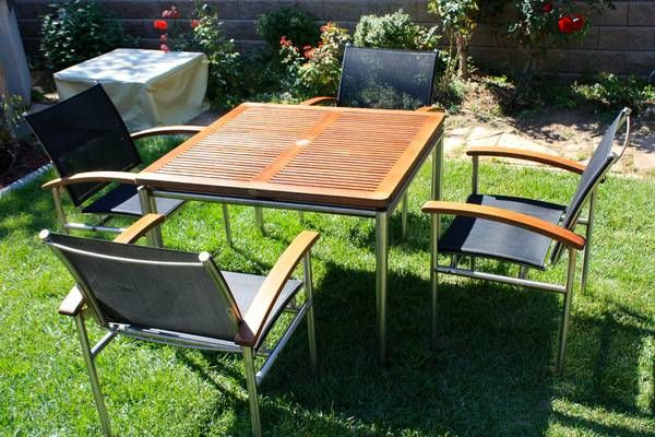 Teak Pati Set Table W 4 Sling Chairs Made In Uk Outdoor Furniture 899 Craigslist Outdoor Furniture Sets Outdoor Decor Outdoor Furniture