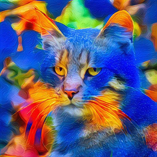 Artificial neural style flower wild cat