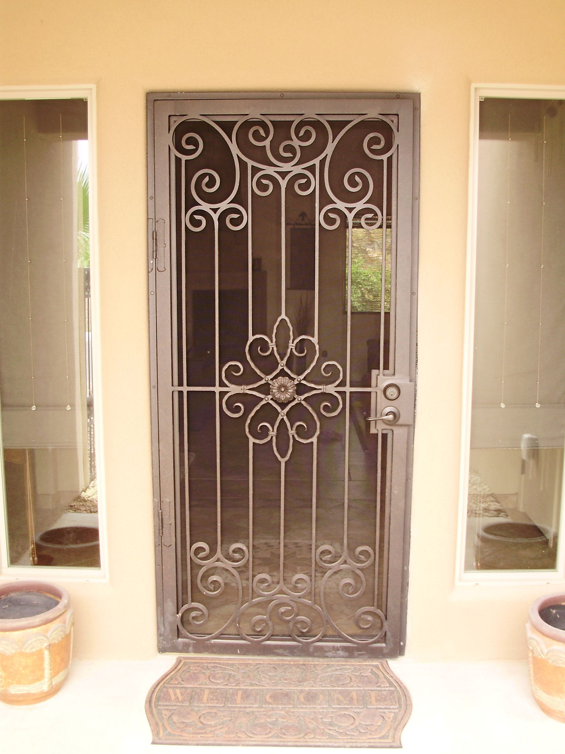 Brown Security Storm Doors | Security screen door, Iron ...