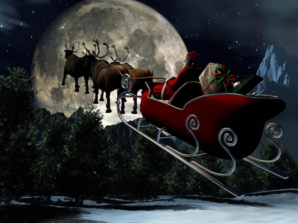 Santa And His Sleigh Christmas Wallpapers Merry Christmas