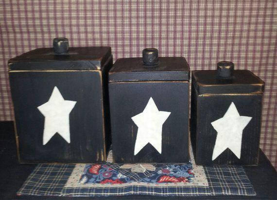 Primitive 3 Pc Wood Canister Set Handmade By Blacksquirrelprims 42 95 Primitive Decorating Country Country Primitive Primitive