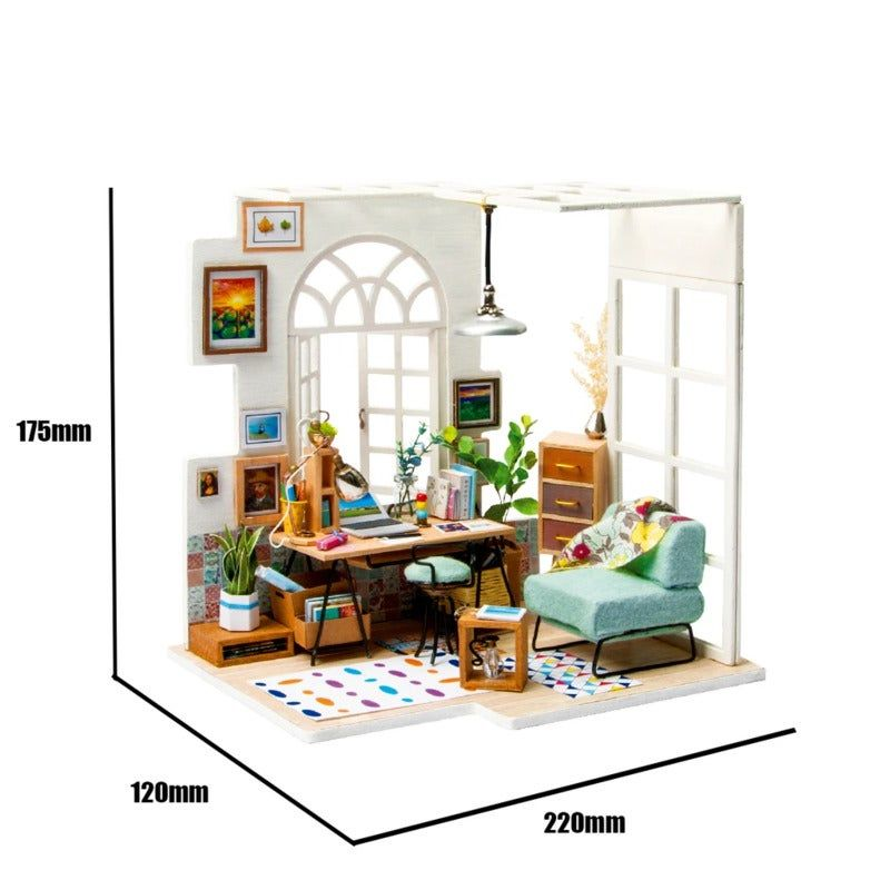 Robotime DIY Mini Dollhouse Building Model Home Decoration toys SOHO time Robotime DIY Mini Dollhouse Building Model Home Decoration toys SOHO time DGM01 with LED light, Tools and Instruction-English VersionYou will get:1.LED light2.Fhoto frame3.Potting4.All furnitures the same as picture shown!Photo shows finished dollhouse,but you receive are spare parts,build by yourself !Size:1.Scale: 1:242.Dollhouse Size:22(L) x12(W)x17.5(H) cm3.Net Weight:458gMaterial: wood, fabric, paper, plastic,matelMan