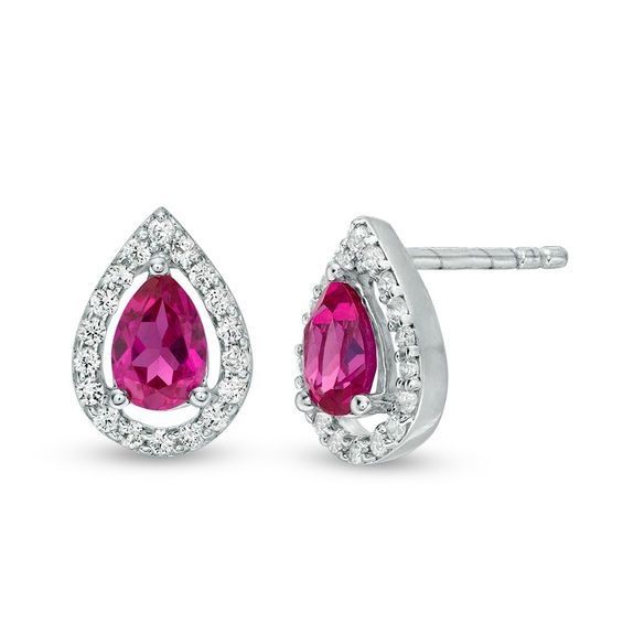 Zales Oval Lab-Created Ruby and White Sapphire Drop Earrings in 10K Gold Ae9I1a