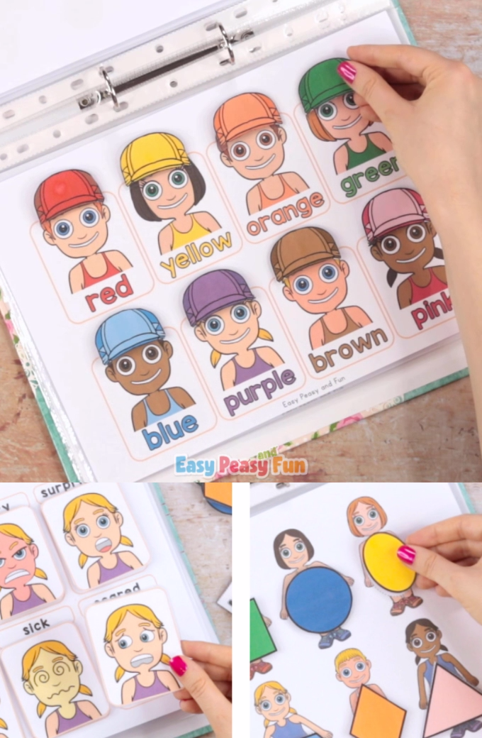 This Printable People Activity Book will guide your kids through a variety of basic skill exercises like shapes, emotions, alphabet and much more.