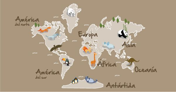 Vinilo mapamundi para habitaci n infantil ni os pinterest for Vinilo mapa del mundo