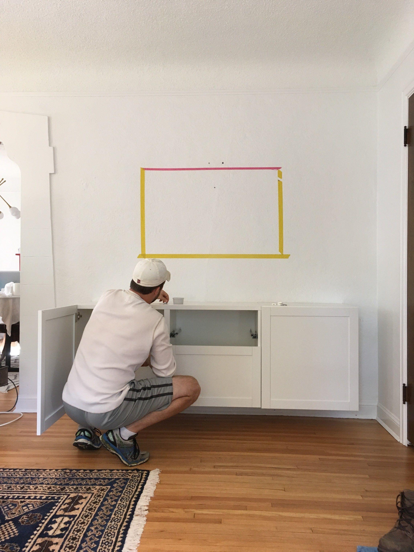 DIY a built-in floating media cabinet for storing tv ...