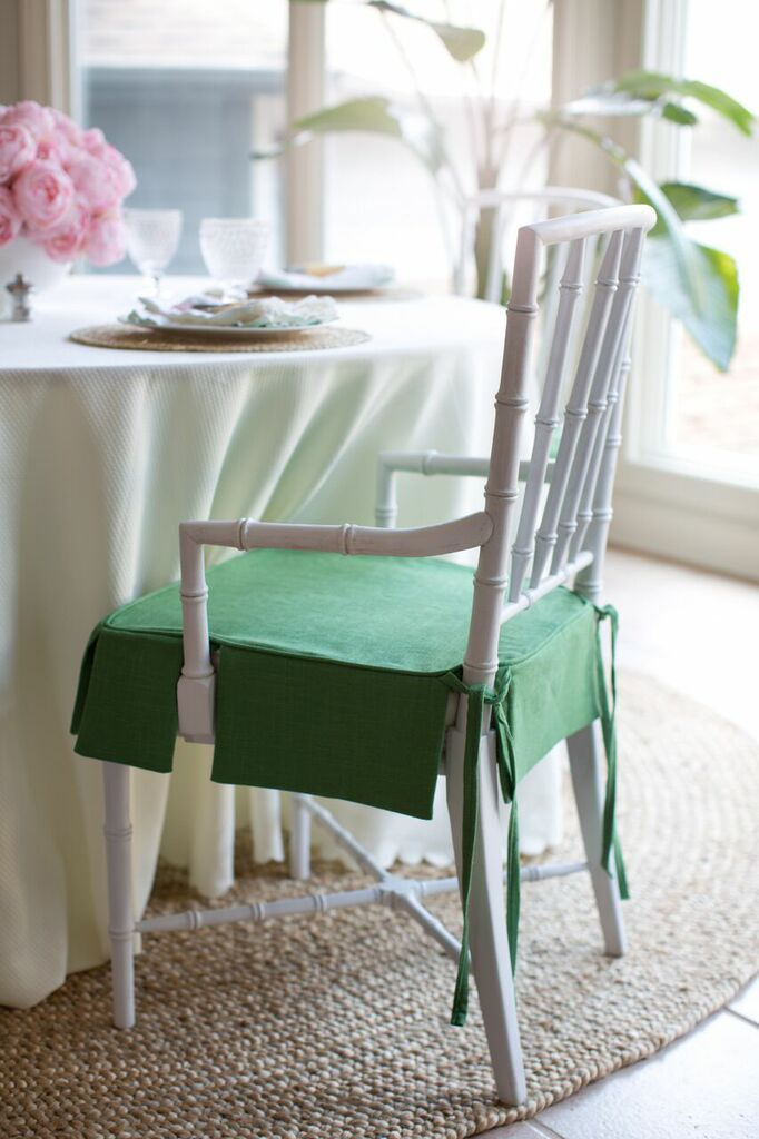 Jana Bek Design - One Room Challenge - Custom chair seat covers in  Lacefield Kelly Linen d7c84fb70