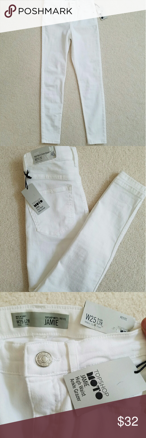 NEW Topshop MOTO Jamie white skinny jeans (petite) * New with tags!!! Purchased at Nordstrom  * W25, length 28. High waist jeans  * runs small. Fits more like 24 in my opinion Topshop Jeans Skinny