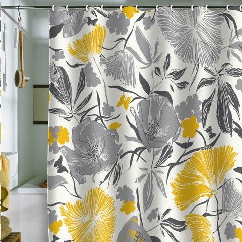 Love This Shower Curtain For Upstairs BR Gray Yellow